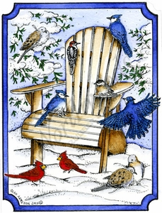P9859 Winter Birds On Chair And Pines In Notched Rectangle