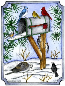 P9863 Winter Birds, Mailbox And Pines In Notched Rectangle