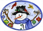 P9865 Winter Birds And Ornaments On Snowman Arms In Oval