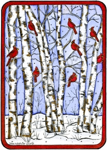 P9866 Cardinals And Birch Grove In Rectangle Frame
