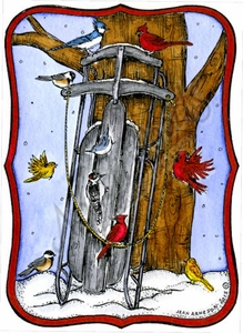 P9867 Winter Birds, Sled And Tree In Curved Rectangle