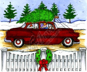 P9890 Old-Fashioned Car With Tree, Fence And Wreath