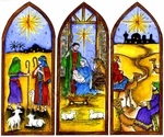 P9894 Three Panel Nativity Scene