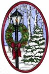 P9903 Lamp Post And Wreath Oval