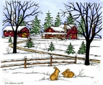 P9910 Winter Scene, Fence And Bunny Pair