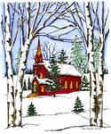 P9912 Birch And Church Winter Scene