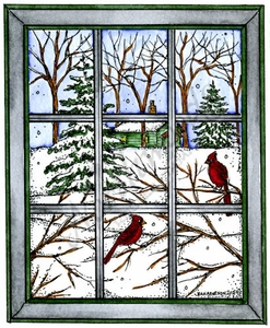 P9917 Winter Window With Cardinal Pair