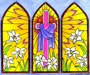 P9944 Easter Three Panel Stained Glass
