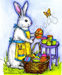 M9423 Painting Bunny, Basket And Stool