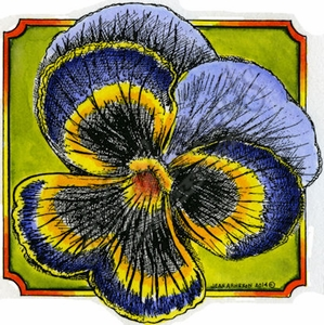 PP9458 Pansy Blossom In Notched Square