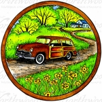 PP10026 Old Fashioned Car In Circle Frame