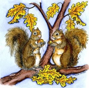 PP10097 Nora's Autumn Squirrel Pair