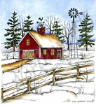 PP10138 Winter Barn, Windmill And Fence