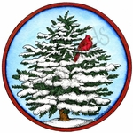 PP10160 Snowy Spruce With Cardinal In Circle Frame