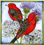 PP10182 Scarlet Tanager Pair On Thistle In Square Frame
