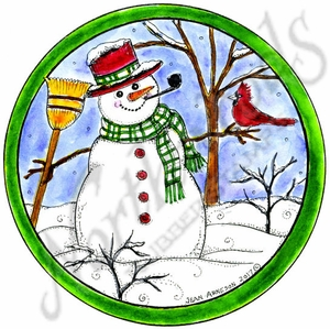 PP10368 Snowman, Tree And Cardinal In Circle Frame