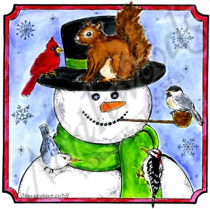 PP10373 Snowman, Squirrel And Birds In Notched Square