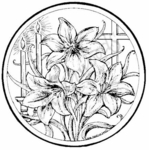 PP4571 Circle Easter Lily and Cross