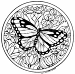 PP4597 Circle Monarch and Flowers - Large
