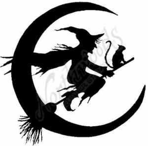PP6167 Silhouette Witch, Cat and Moon