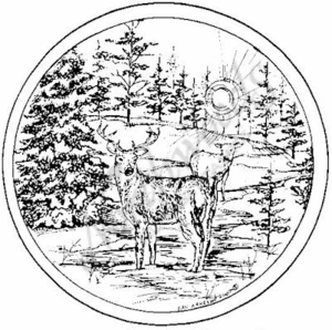 PP6312 Circle Deer and Snowy Spruce