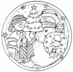 PP6363 Circle Snow Couple With Tree and Wreath