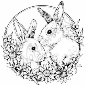 PP6469 Circle Bunnies With Flowers
