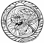 PP6937 Stained Glass Dragonfly Circle