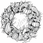 PP7076 Gourd and Leaf Wreath
