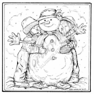 PP7184 Square Children Hugging Snowman