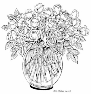 PP7350 Roses In Glass Bowl