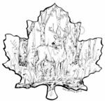 PP7357 Deer In Maple Leaf Frame