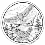 PP7377 Circle Eagle Pair and Trees