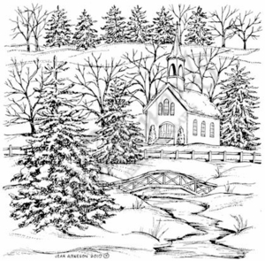 PP7691 Winter Church And Bridge