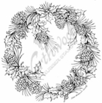 PP7711 Pinecone And Holly Wreath