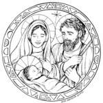 PP7735 Stained Glass Holy Family Circle