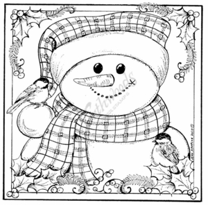 PP7743 Snowman And Chickadee Square