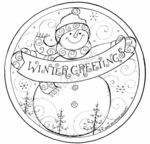 PP7765 Snowman Winter Greetings Circle