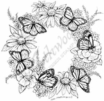 PP8020 Butterfly And Flower Wreath