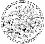 PP8025 Dotted Circle With Apple Blossoms