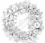 PP8027 Floral Wreath With Hummingbirds