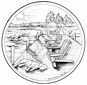 PP8058 Circle Dock With Chairs And Dog