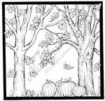 PP8167 Square Fall Trees And Pumpkins