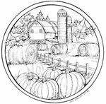 PP8192 Circle Fall Farm Scene