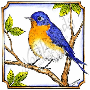 PP8421 Bluebird In Notched Square