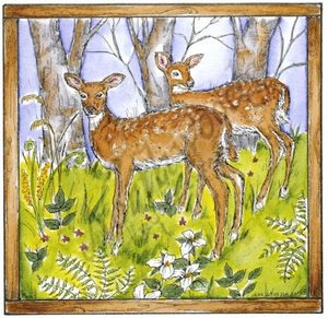 PP8532 Two Fawns In Square Frame