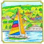 PP8566 Sailboat And Village In Notched Square