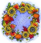 PP8677 Sunflower And Pumpkin Wreath