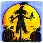 PP8713 Silhouette Scarecrow And Pumpkins