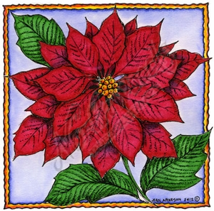 PP8748 Poinsettia In Deckle Square